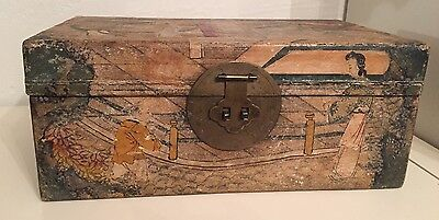 Rare Antique Chinese Handpainted Pigskin Chest Travel Wedding Trunk Box Old