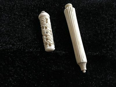 Two lovely Victorian, maybe Georgian, needle cases.