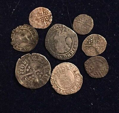 Large Lot (8 Coins) of UK Medieval coins - Q. Elizabeth - Rare Coin At Bottom