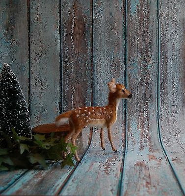 Needle Felted Fawn Deer Woodland Forest Animal Wool Fiber Sculpture Art