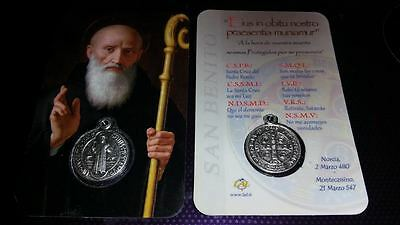 St Benedict charm & prayer card Catholic Saint Vatican City medal medallion