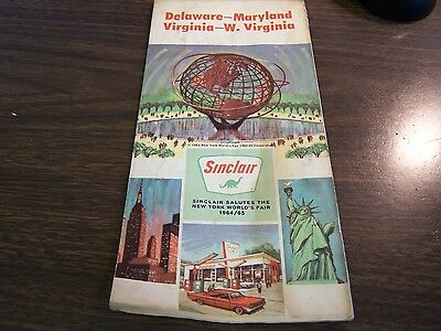 Sinclair Salutes The New York Worlds Fair - 1964/65 Delaware - Maryland - Map