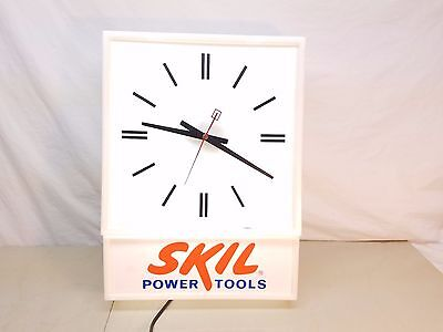 """Skil Power Tools Lighted Clock - Hardware Sign ~ Works Great ~ 12"""" x 16"""""""