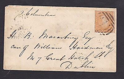 LM13) Victoria 1854 6d Dull Orange Imperf Woodblock  on cover, SG 32a
