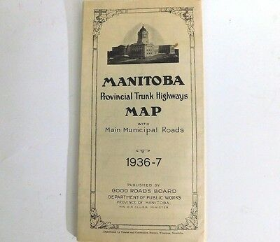 1936 Manitoba Provincial Trunk Highways Map  ~ By The Good Roads Board