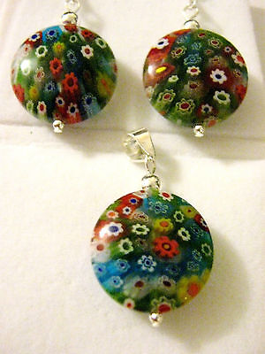 Sterling Silver Round Mille fiori glass multi coloured Pendant & Earrings set