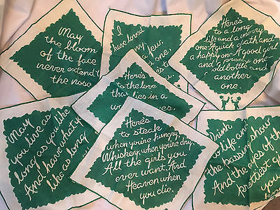 7 Vtg Cocktail Napkins.  Irish toasts.  Printed on white linen w/ green accents