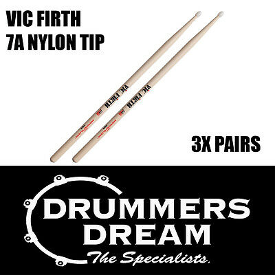 Vic Firth 7A Nylon Tip Drumsticks 3 Pairs American Hickory Classic Drum Sticks