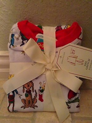 Nwt Pottery Barn Kids Dr. Seuss Cotton Tight Fit 2 Pc Pajamas~The Grinch~Size 2T