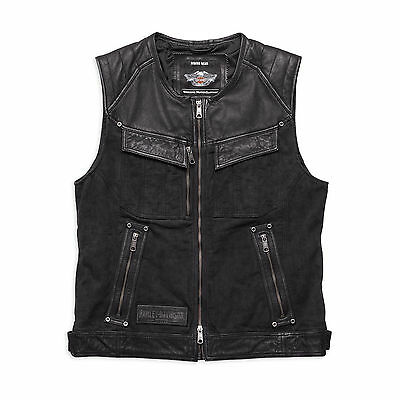 Harley-Davidson Mens Chassis Textile and Leather Vest 97126-16VM
