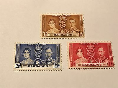 Barbados   1937 Coronation unused  h Lot (D03105)