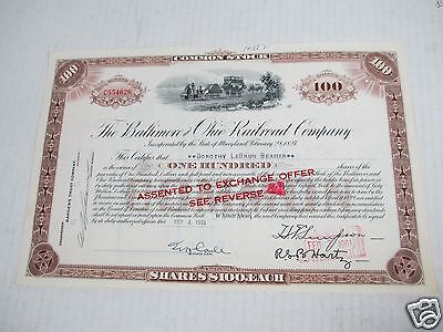 Baltimore & Ohio Common Stock Certificates Shares Railroad Canceled Fallen Flag