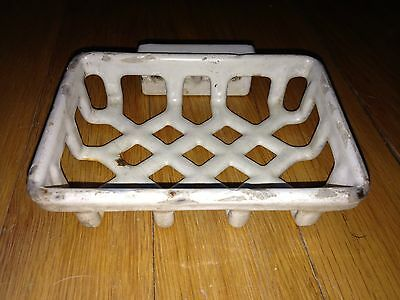 Antique Cast Iron White Enamel Wall Mount Soap Dish Architectural Salvage Vanity