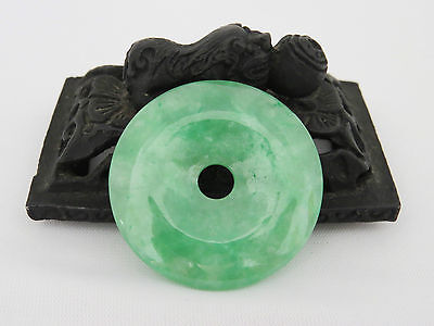 Translucent Natural Icy Green Jadeite Donut Loose Gemstone Pendant