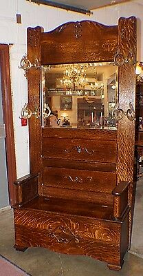 Large Antique Oak Hall Tree Bench Seat & Drawer With Mirror & Brass Hooks