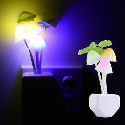 Colorful Sensor Night Light Mushroom LED Lamp Romantic Home Decor EU/US Plug