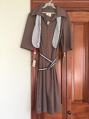 NWT Vintage Flutterbye 70s Dress Brown Taupe Polyester Size 20 Belt Ascot