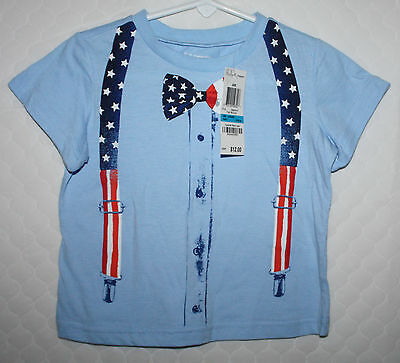 *nwt* First Impressions Infant Boy 24M Blue Bow-Tie Suspenders T-Shirt