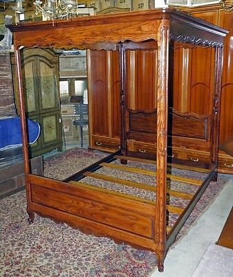 Vintage Oak French Country Louis Xv Canopy Bed Frame By Henredon