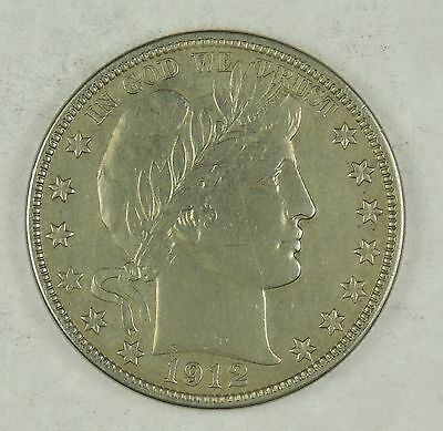 1912-D 50C Barber Silver Half Dollar AU+ Details (Very lightly cleaned)