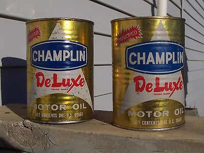 2 Metal Champlin DeLuxe SAE 20W Engine Oil Cans Quart Full Cans Qt Delux