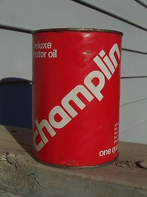 Champlin DeLuxe SAE 30 Diesel Motor Oil Can Quart Full Qt Red Petroleum Co