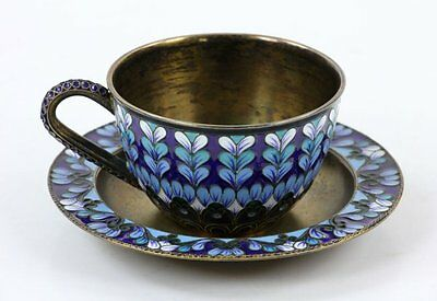 VINTAGE RUSSIAN SOVIET ERA SILVER 916 ENAMELED CUP AND SAUCER, Marked