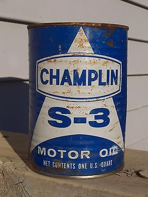 Champlin S-3 SAE 30 Motor Oil Can Quart Full Qt Blue Petroleum Co