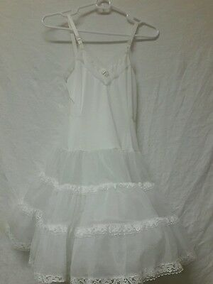 Three Layer  Vintage 50's Girl's White Full Circle Swing Lace  Slip 12
