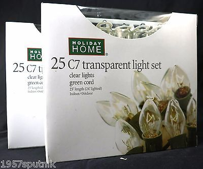 2 Sets Christmas C7 Ceramic Lights Indoor Outdoor 50 Clear bulbs total NIB New