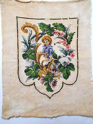 Antique beaded embroidery panel glass beads and wool on linen child and floral