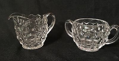 Fostoria American Cream and Sugar Set Clear Glass Vintage