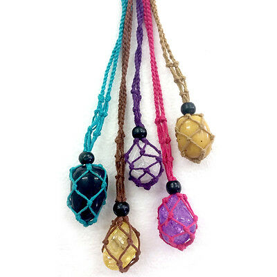 Cotton Macrame Beaded Gemstone Holders Crystal Necklace Pouch Tumble Stone