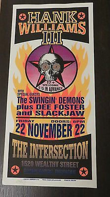 Hank Williams Swingin Demons Dee Foster Slackjaw Screen print Concert Poster