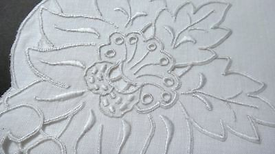 "MADEIRA Embroidery LINEN NAPKINS Set 12 UNUSED 19"" Vintage Bold Flora - WEDDING"