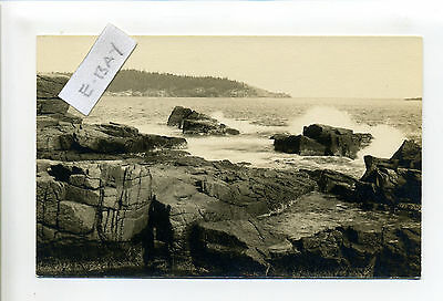 Mount Desert Island ME Maine RPPC real photo Great Head from Ocean Drive
