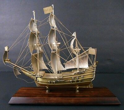 Rare Solid Silver Miniature Model Of The 1665 Dutch Ship De Zeven Provincien
