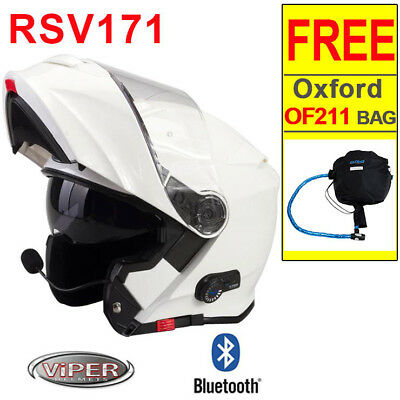 Viper RS-V171 BL+ Bluetooth 3.0 Flip Up ACU Motorcycle Motorbike Helmet White