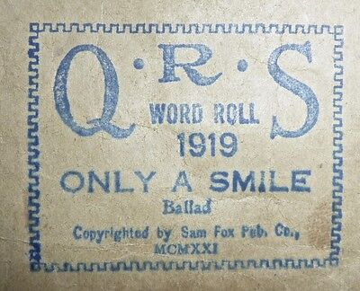 QRS WORD ROLL 1919  Only a Smile  Played by Phil Ohman  1921