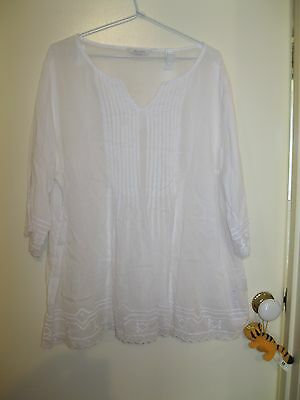 White Embroidered Summer Shirt Blouse (Asian Plus Size Approx Au18-20)