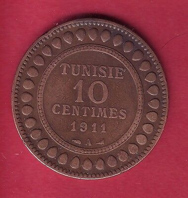 R* Tunisia Tunisie 10 Centimes 1911 A Vf Details Rb