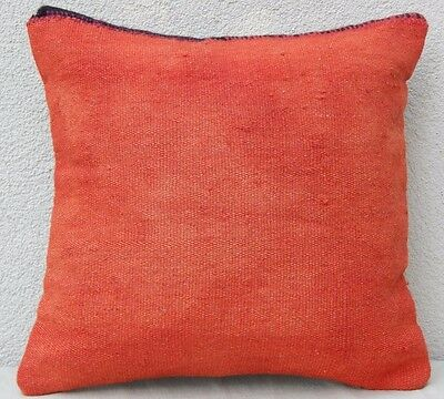 16'' X 16'' Vintage Turkish Handwoven Faded Orange Kilim Throw Pillow Cover