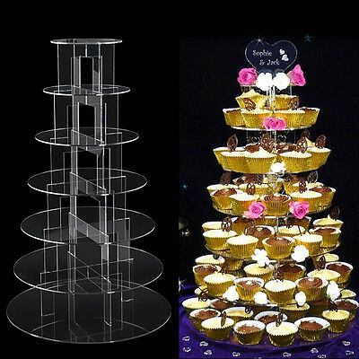 7 Tiers Circle Round Acrylic Cupcake Party Wedding Cup Cake Stand Holder Display