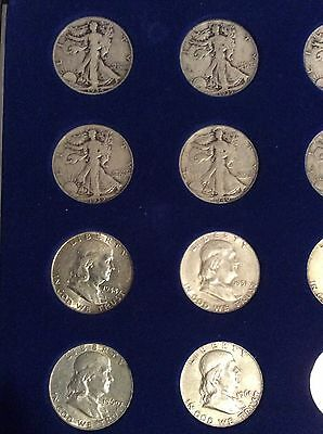20 Different Silver Half Dollars. 10 W.L. and 9 Franklin + 1 1964 Kennedy