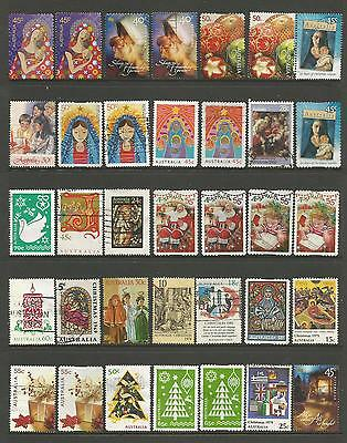 35 Australian Christmas stamps used including self adhesives