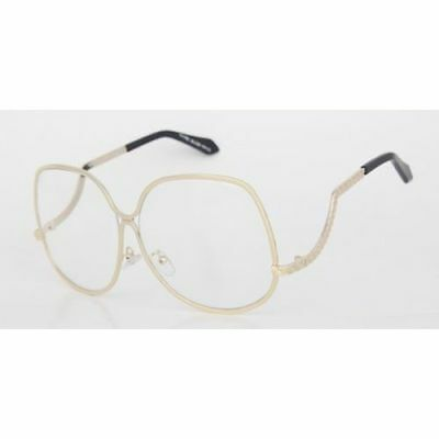 oversized vintage retro style clear lens sun glasses upside down gold frame