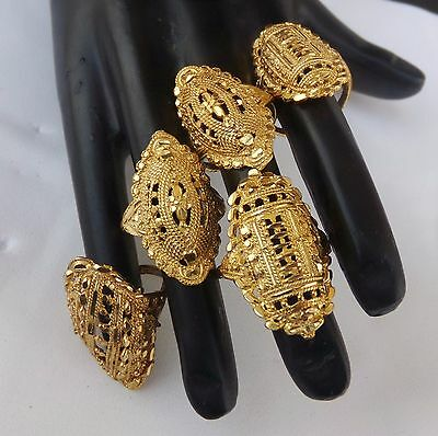 Ethnic South Indian Bridal Jewelry Set Bollywood Gold Plated Assorted Rings Lot1