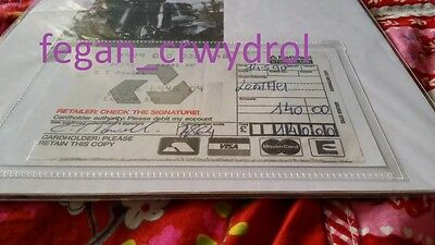"Cozy Powell signed credit card slip for ""leather""! Crazy rare item!"