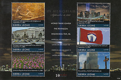 Sierra Leone 2011 MNH September 11 2001 10th Memorial 6v M/S Pentagon WTC Stamps