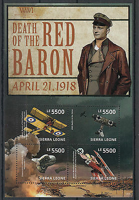 Sierra Leone 2014 MNH WWI WW1 Death of Red Baron 4v M/S II Aviation Stamps